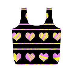 Pink and yellow harts pattern Full Print Recycle Bags (M)