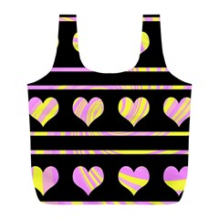 Pink and yellow harts pattern Full Print Recycle Bags (L)