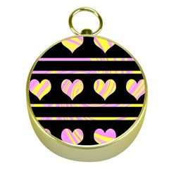 Pink and yellow harts pattern Gold Compasses