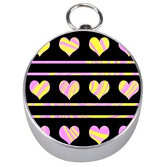 Pink and yellow harts pattern Silver Compasses