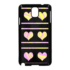 Pink and yellow harts pattern Samsung Galaxy Note 3 Neo Hardshell Case (Black)