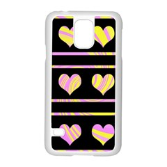 Pink and yellow harts pattern Samsung Galaxy S5 Case (White)