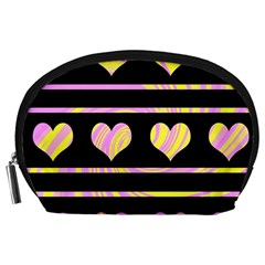 Pink and yellow harts pattern Accessory Pouches (Large)