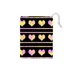 Pink and yellow harts pattern Drawstring Pouches (Small)