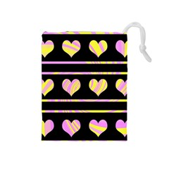 Pink and yellow harts pattern Drawstring Pouches (Medium)