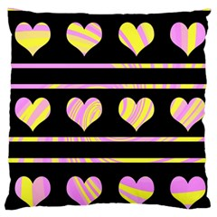 Pink and yellow harts pattern Large Flano Cushion Case (Two Sides)