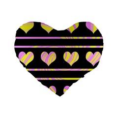 Pink and yellow harts pattern Standard 16  Premium Flano Heart Shape Cushions