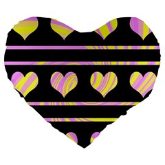 Pink and yellow harts pattern Large 19  Premium Flano Heart Shape Cushions