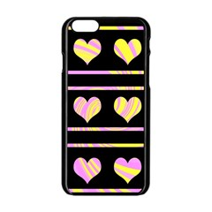 Pink and yellow harts pattern Apple iPhone 6/6S Black Enamel Case