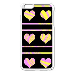 Pink and yellow harts pattern Apple iPhone 6 Plus/6S Plus Enamel White Case