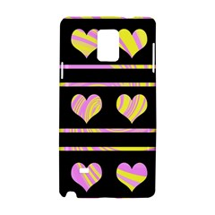 Pink and yellow harts pattern Samsung Galaxy Note 4 Hardshell Case