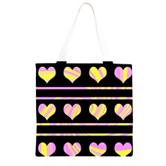 Pink and yellow harts pattern Grocery Light Tote Bag