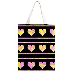 Pink and yellow harts pattern Classic Light Tote Bag