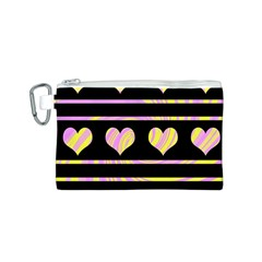 Pink and yellow harts pattern Canvas Cosmetic Bag (S)