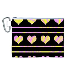 Pink and yellow harts pattern Canvas Cosmetic Bag (L)