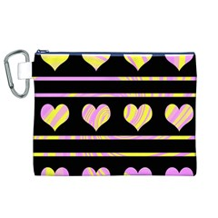 Pink and yellow harts pattern Canvas Cosmetic Bag (XL)
