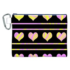 Pink and yellow harts pattern Canvas Cosmetic Bag (XXL)