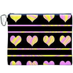 Pink and yellow harts pattern Canvas Cosmetic Bag (XXXL)