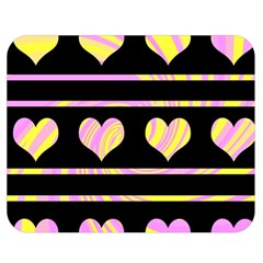 Pink and yellow harts pattern Double Sided Flano Blanket (Medium)