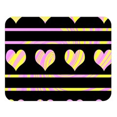 Pink and yellow harts pattern Double Sided Flano Blanket (Large)