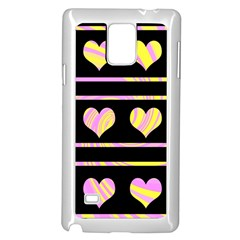 Pink and yellow harts pattern Samsung Galaxy Note 4 Case (White)