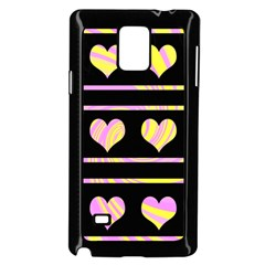 Pink and yellow harts pattern Samsung Galaxy Note 4 Case (Black)