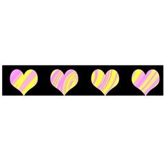 Pink and yellow harts pattern Flano Scarf (Large)