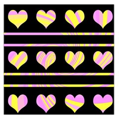 Pink and yellow harts pattern Large Satin Scarf (Square)