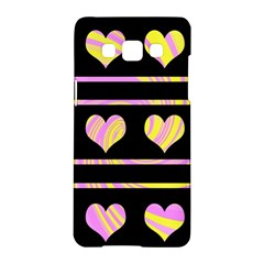 Pink and yellow harts pattern Samsung Galaxy A5 Hardshell Case