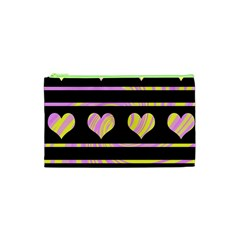 Pink and yellow harts pattern Cosmetic Bag (XS)