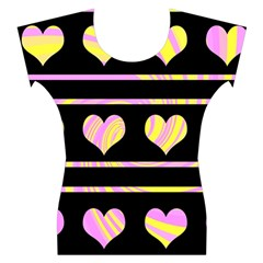 Pink and yellow harts pattern Women s Cap Sleeve Top