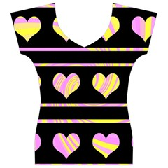 Pink and yellow harts pattern Women s V-Neck Cap Sleeve Top