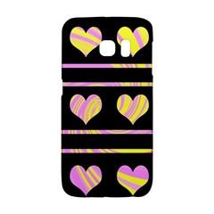 Pink and yellow harts pattern Galaxy S6 Edge