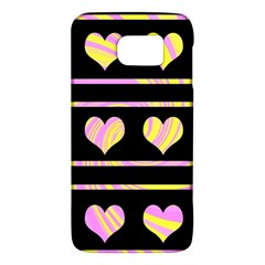 Pink and yellow harts pattern Galaxy S6