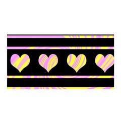 Pink and yellow harts pattern Satin Wrap