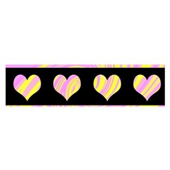 Pink and yellow harts pattern Satin Scarf (Oblong)