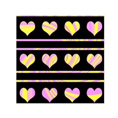 Pink and yellow harts pattern Small Satin Scarf (Square)