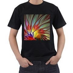 Fractal Bird of Paradise Men s T-Shirt (Black) (Two Sided)