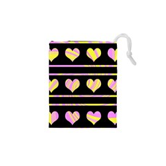 Pink and yellow harts pattern Drawstring Pouches (XS)