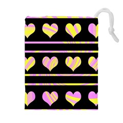 Pink and yellow harts pattern Drawstring Pouches (Extra Large)