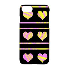 Pink and yellow harts pattern Apple iPhone 7 Hardshell Case