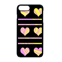Pink and yellow harts pattern Apple iPhone 7 Plus Seamless Case (Black)