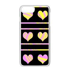 Pink and yellow harts pattern Apple iPhone 7 Plus White Seamless Case