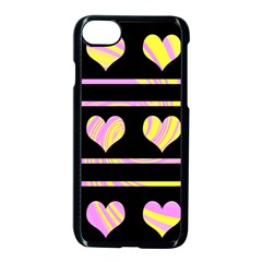 Pink and yellow harts pattern Apple iPhone 7 Seamless Case (Black)