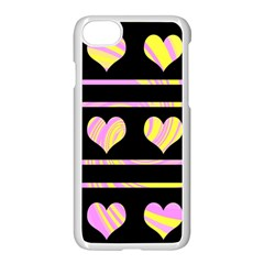 Pink and yellow harts pattern Apple iPhone 7 Seamless Case (White)