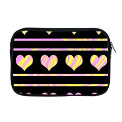 Pink and yellow harts pattern Apple MacBook Pro 17  Zipper Case