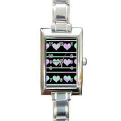 Pastel harts pattern Rectangle Italian Charm Watch