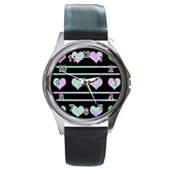 Pastel harts pattern Round Metal Watch