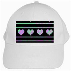 Pastel harts pattern White Cap