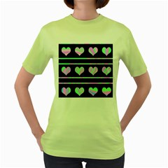 Pastel harts pattern Women s Green T-Shirt